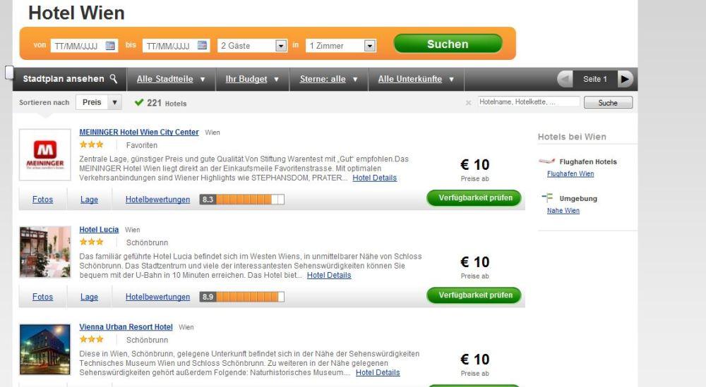 Preise für Hotel Wien