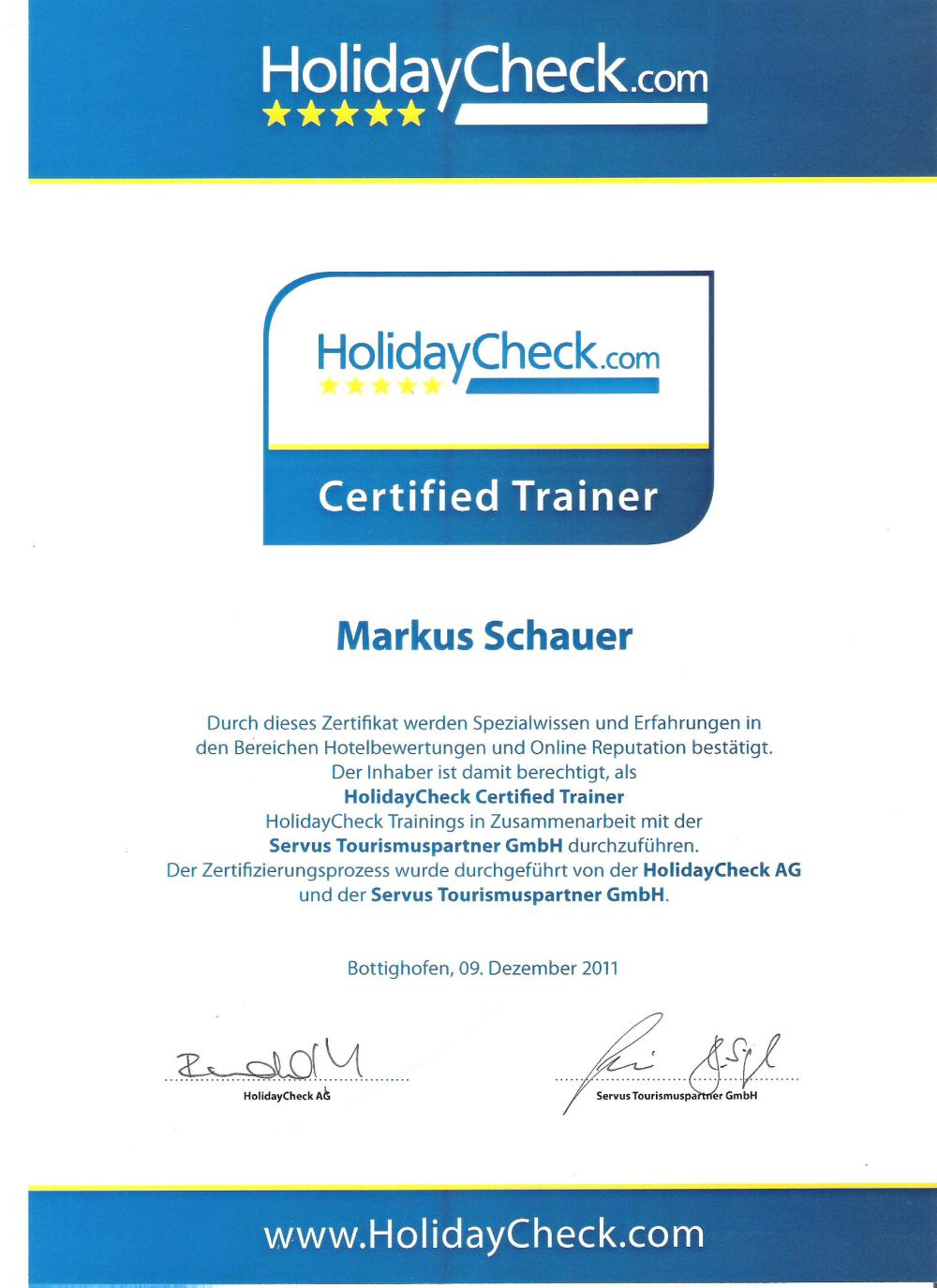 Holidaycheck Certified Partner